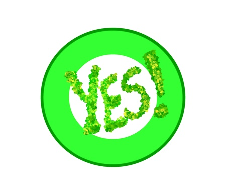Green yes symbol over white background. Stock Photo - 17333783