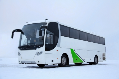 White bus with green design in winter