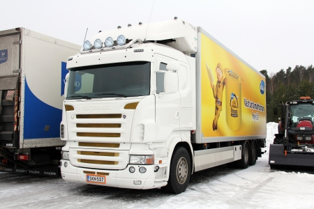 SALO, FINLAND - FEBRUARY 17, 2013: Scania Truck and trailer in Salo, Finland on February 17, 2013. Global business giant Thomson Reuters names Scania one of top 100 global innovators in 2012. Editorial