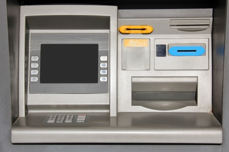 personal banking: Outdoor metallic automatic teller machine.