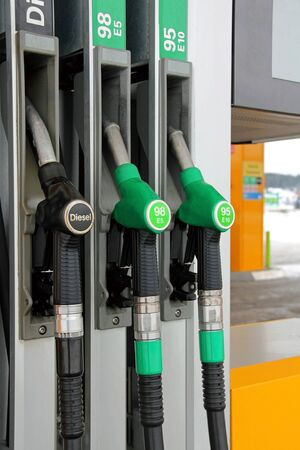 Three fuel pistols at a Filling Station. photo