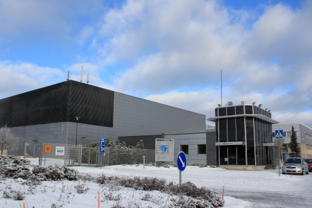 ec: SALO, FINLAND - CA. FEB, 2013: Information at Nokia plant in Salo, Finland ca. Feb 2013. EC grants Finland with �5.3m from the European Globalisation Adjustment Fund (EGF) to help 1000 workers made redundant by Nokia plc with their return to employment.