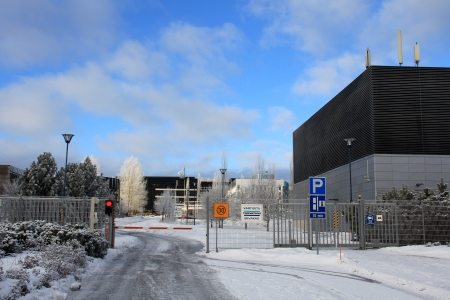 ec: SALO, FINLAND - CA. FEB, 2013: Closed gate at Nokia plant in Salo, Finland ca. Feb 2013. EC grants Finland with �5.3m from the European Globalisation Adjustment Fund (EGF) to help 1000 workers made redundant by Nokia plc with their return to employment.