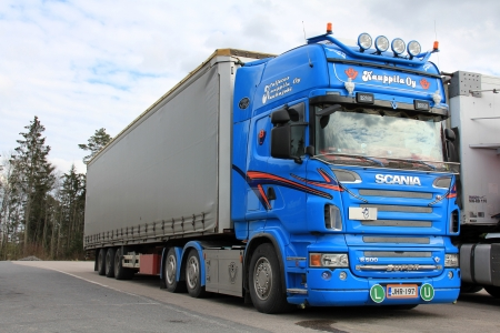 HAIJAA, FINLAND - MAY 12, 13: Scania R500 truck parked at Haijaa, Finland on May 12, 13. Equipped with a high-tech simulator, ergonomic researchers at Scania seek to improve conditions for drivers. Editorial