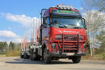 SALO, FINLAND - MAY 11, 13: Volvo 600 logging truck in Salo, Finland on May 11, 13. The spring forecast by PTT in Finland predicts rising softwood lumber exports and higher selling prices for 2013.