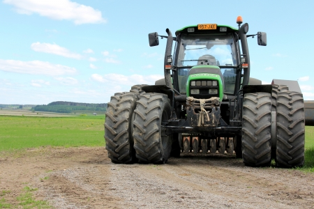 SALO, FINLAND - MAY 26, 13: Deutz-Fahr Agrotron 130 tractor in Salo, Finland on May 26, 13. The new Deutz-Fahr Agrotron 7250 TTV wins Tractor of the year 2013 in Europe, at EIMA, Bologna, Italy.