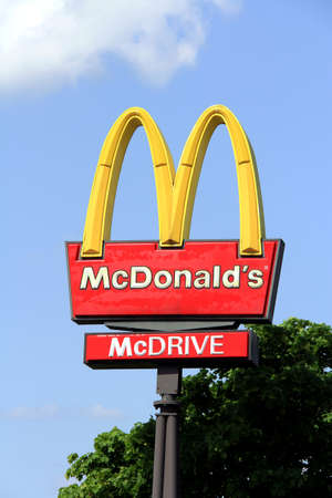 SALO, FINLAND - JUNE 2, 2013: A Logo of McDonalds at a restaurant in Salo, Finland on June 2, 2013. McDonalds announced the 73 first ever Ray Kroc awards for Europe on 9 May, 2013. Stock Photo - 19996899