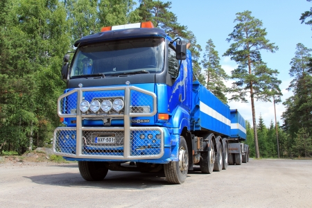 ye: TAMMISAARI, FINLAND - JULY 6, 2013: Sisu 18E630 heavy duty truck parked in Tammisaari, Finland on July 6, 2013. Sisu Auto Finland prepares for a peak in demand for Euro 5 series of trucks due to the new Euro 6 emission regulation coming into force next ye