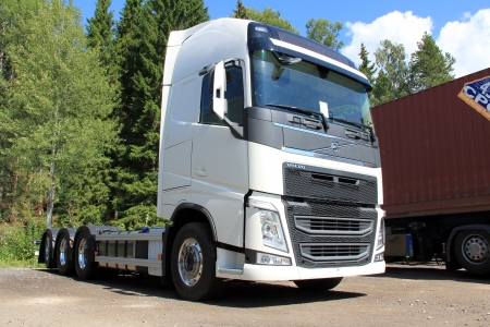 EKENAS, FINLAND - JULY 27, 2013: New Volvo FH84R Truck parked in Ekenas, Finland on July 27, 13. The Volvo Group participates in a large Swedish research project to find solutions how trucks and buses can run with electric power. Stock Photo - 21184308