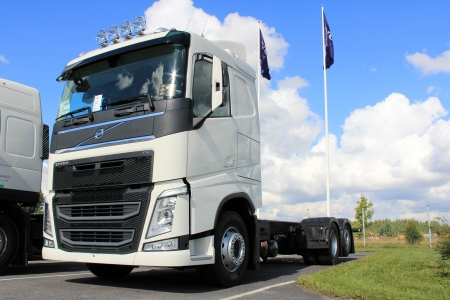 LIETO, FINLAND - AUGUST 31  Volvo FH truck on August 31, 2013 in Lieto, Finland  Volvo Trucks new range goes on public display for the first time at the Comtrans Exhibition in Moscow 10�14 September