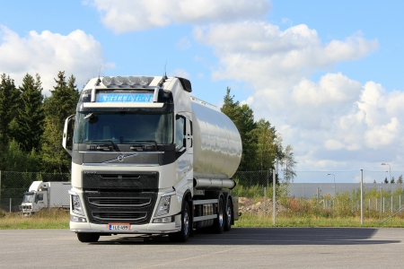 LIETO, FINLAND - AUGUST 31: Volvo FH food transport truck on August 31, 2013 in Lieto, Finland. According to Volvo Group, one third of all goods traffic on the European roads involves the transport of food.