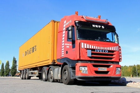 hiway: FORSSA, FINLAND - SEPTEMBER 7  Iveco truck and trailer on September 7 in Forssa, Finland  The Iveco Stralis Hi-Way has been elected International Truck of the Year 2013 by a group of 25 leading commercial vehicle journalists  Editorial