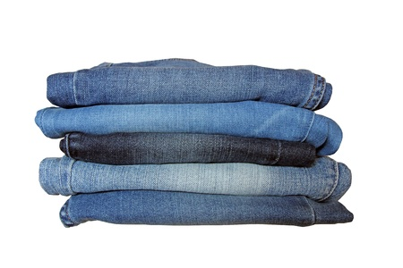 Stack of blue jeans of different shades over white background  Stock Photo - 23243572