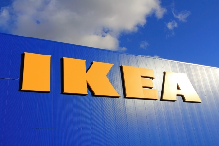 RAISIO, FINLAND – SEPTEMBER 21: Sign IKEA at IKEA Raisio Store on September 21, 2013 in Raisio, Finland. As of January 2008, the Swedish company is the worlds largest furniture retailer. Stock Photo - 22358772