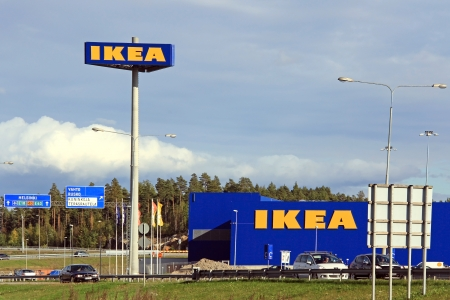 RAISIO, FINLAND – SEPTEMBER 21: IKEA Raisio Store by highway 40 on September 21, 2013 in Raisio, Finland. IKEA is the worlds largest furniture retailer and sells ready to assemble furniture.