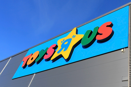 r furniture: TURKU, FINLAND - OCTOBER 6:  Toys R Us Sign on October 6, 2013 in Turku, Finland. Toys R Us is an American toy and juvenile-products retailer with more than 625 international stores in 35 countries. Editorial