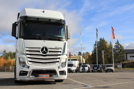 LIETO, FINLAND - October 12  White Mercedes-Benz Actros truck on October 12, 2013 in Lieto, Finland  With sales of ca  800,000 vehicles since its launch in 1996, the Mercedes-Benz Actros is the world�s most successful heavy-duty truck