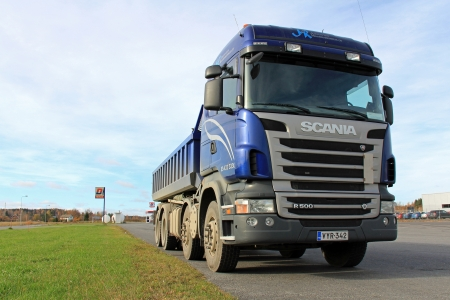 patents: FORSSA, FINLAND - OCTOBER 13  Blue Scania heavy duty truck on October 13, 2013 in Forssa, Finland   Scania reports 155 approved patents in 2012, which is a new record