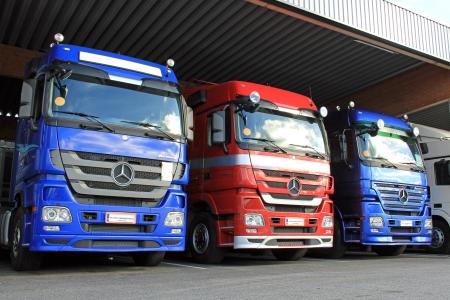 LIETO, FINLAND   October 12: Three Mercedes Benz Actros Trucks In A Carport