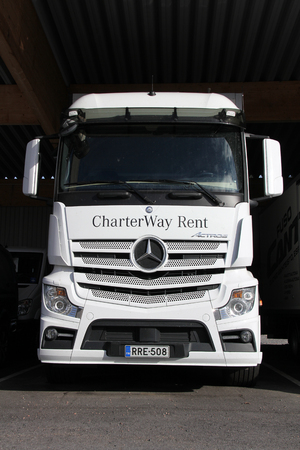 LIETO, FINLAND - October 12  White Mercedes-Benz Actros truck on October 12, 2013 in Lieto, Finland   With sales of ca  800,000 vehicles since its launch in 1996, the Mercedes-Benz Actros is the worlds most successful heavy-duty truck   Stock Photo - 23059745