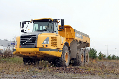 forthcoming: LIETO, FINLAND - OCTOBER 27  Volvo A25D articulated hauler on October 28, 2013 in Lieto, Finland  Volvo Construction Equipments new Tier 4 Final Stage IV-compliant engines meet the meet the forthcoming stringent EU and US emissions legislation