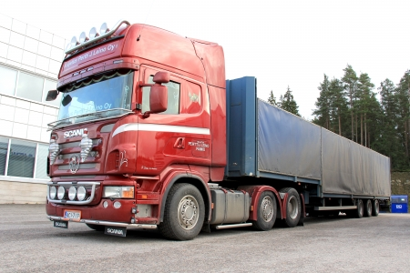 LIETO, FINLAND - NOVEMBER 2  Scania truck and trailer on November 2, 2013 in Lieto, Finland  According to Scania, their potential on a global basis will 2020 amount to 120,000 trucks per year  Stock Photo - 23434101