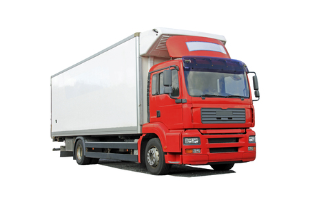 haulage: Red delivery truck isolated over white background