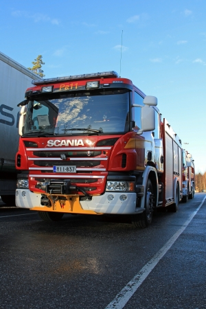 PAIMIO, FINLAND - NOVEMBER 16: Scania P320 fire truck on November 16, 2013 in Paimio, Finland. 2013 marks 100 years of Scania Fire Trucks.