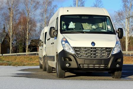 panel van: FORSSA, FINLAND - NOVEMBER 24  White Renault Master dCi 125 van on November 25, 2013 in Forssa, Finland  Renault Master holds a 13 4  share of the European LCV large vans market in 2012  Editorial