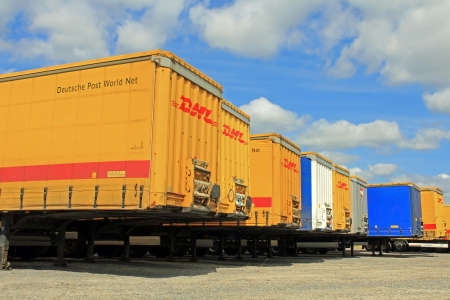 LIETO, FINLAND - AUGUST 3, 2013  Yard of Deutsche Post World Net containers  DPWN is one of the largest high-performing logistics companies in the world