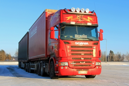 FORSSA, FINLAND � JANUARY 18, 2014  Scania R500 long haulage truck in arctic conditions  Scania�s climatic wind tunnel is the first in Europe adapted for full-size trucks and the conditions created are often very similar to reality