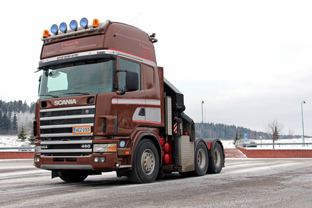 SALO, FINLAND - JANUARY 25, 2014  Scania 144 truck tractor in arctic conditions  Scania ranks 38th among the worlds 100 most sustainable corporations, and ranks second highest in the automotive industry after BMW