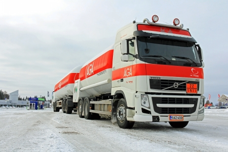 FORSSA, FINLAND - FEBRUARY 2, 2014  Volvo FH AGA gas tanker truck  AGA is launching a new AGA AC gas, HFO R1234yf, for the automotive industry to reduce greenhouse gas emissions from air conditioning systems in cars  MAC