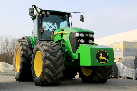 FORSSA, FINLAND - MARCH 1, 2014  John Deere 7830 Agricultural Tractor on display  Two John Deere innovations have won awards at the 2014 FIMA show held in Zaragoza, Spain in February