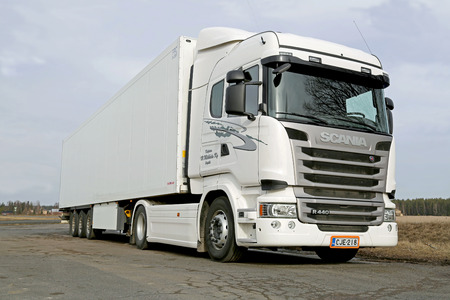 tl: KOSKI TL, FINLAND - MARCH 9, 2014: White Scania R440 truck parked. Scania sets new patent record in 2013 with over 700 invention disclosures. Editorial