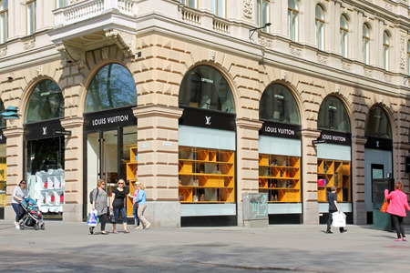 vuitton: HELSINKI, FINLAND - MAY 20, 2014  Louis Vuitton Store in Central Helsinki  For six consecutive years  2006-2012 , Louis Vuitton has been named the world s most valuable luxury brand
