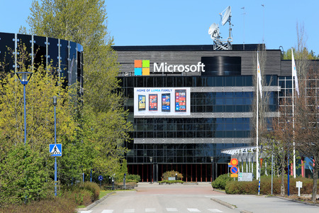 SALO, FINLAND - MAY 17, 2014  Microsoft signs replace the Nokia signs at the former Nokia buildings in Salo  Former Nokia town in Finland looks to Microsoft for revival  Editorial