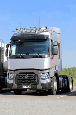 haul: LIETO, FINLAND - MAY 24, 2014  Grey Renault Range T truck for long haul  The Renault Trucks T has been voted truck of the year 2014 in Spain