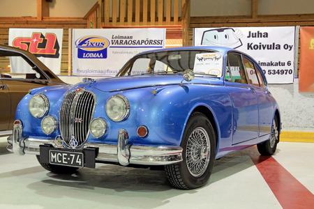 LOIMAA, FINLAND - JUNE 15, 2014  Classic Blue Jaguar MK2 year 1966 presented at HeMa Show 2014 in Loimaa, Finland