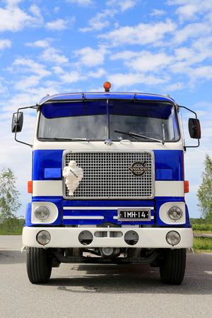HATTULA, FINLAND - JULY 12, 2014  Vintage Volvo F88 tanker truck on display at Tawastia Truck Weekend in Hattula, Finland
