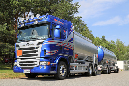 TURKU, FINLAND - JULY 13, 2014  Scania R500 V8 tank truck for chemical transport  European chemicals output will grow by 2 0  this year, according to Cefic, the European Chemical Industry Council