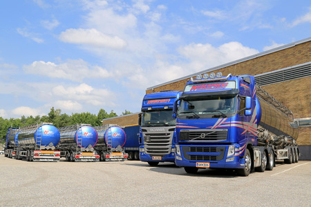 TURKU, FINLAND - JULY 13, 2014  Fleet of tanker trucks on a yard  European chemicals output will grow by 2 0  this year driven by rising demand from customer industries, says Cefic, the European Chemical Industry Council