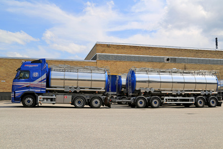 TURKU, FINLAND - JULY 13, 2014  Volvo FH 500 tanker truck with full trailer for chemical transport  European chemicals output will grow by 2 0  this year, according to Cefic, the European Chemical Industry Council