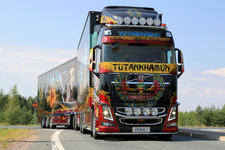 LEMPAALA, FINLAND - AUGUST 7, 2014  Swedish Volvo Show Truck Tutankhamun stops at Lempaala as part of the truck convoy to Power Truck Show 2014 in Alaharma, Finland
