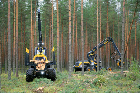 forwarder: JAMSA, FINLAND - AUGUST 30, 2014: Ponsse forwarder Buffalo and harvester Scorpion in a work demo. Ponsse presents its new Model Series 2015 at FinnMETKO 2014. Editorial