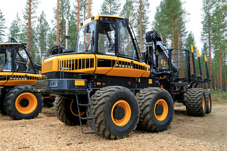 gatherer: JAMSA, FINLAND - AUGUST 30, 2014: Ponsse presents Elephant King forwarder as part of its new Model Series 2015 at FinnMETKO 2014. Editorial