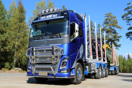 RAASEPORI, FINLAND - SEPTEMBER 14, 2014: Volvo Trucks introduces the FH16 in a specially designed version inspired by the tough sailing competition Volvo Ocean Race. Editorial