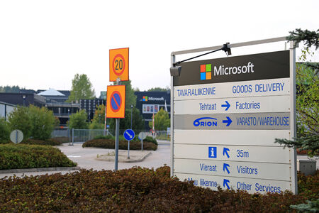 famous industries: SALO, FINLAND - SEPTEMBER 21, 2014: Entry to Microsoft building in Salo, Finland. Microsoft is to maintain its R&D centers in Finlands Salo and Tampere.