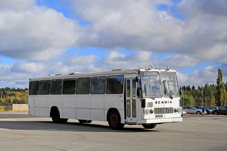 made in finland: FORSSA, FINLAND - SEPTEMBER 27, 2014: Classic Scania Lahti 20 bus departs Forssa. Lahti 20 is a chassis type made by the Finnish manufacturer Lahden Autokori between 1970 and 1978.