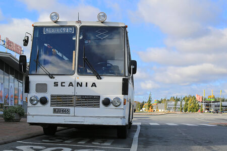 made in finland: FORSSA, FINLAND - SEPTEMBER 27, 2014: Classic Scania Lahti 20 bus parked.  Lahti 20 is a chassis type made by the Finnish manufacturer Lahden Autokori between 1970 and 1978. Editorial